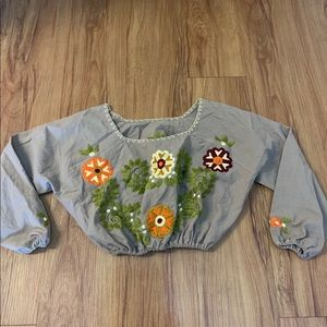 BOHO Embroidered Floral Long Sleeve Crop Top